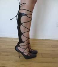 $785 MICHEL PERRY BLACK LEATHER LACE UP BOOTS SHOES HEELS PUMPS ITALY 38
