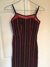 Betsey Johnson Evening Black Red Embroidered Party Dress Straps Size 2 Mesh