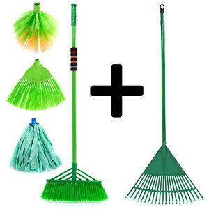7pc Broom Mop Garden Rake Tool Garage Cleaning Sweeper Utility Home Organiser