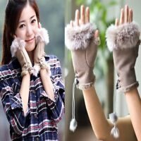 Chic Women's Rabbit Fur winter leather Warm Fingerless Gloves Warmer Fashion