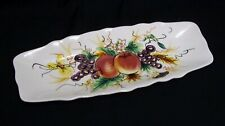 """Serving Dish Tray Hand Painted Fruit Scalloped Edge 1022 Ceramic 12"""" Long"""