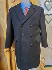 House Of Bentley Men's 44L Overcoat Winter Coat Black Tweed Wool Leather buttons