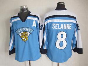 90'S Teemu Selanne #8 Hockey Jersey Team Finland Retro Stitched Any Names