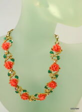 Vintage Thermoset Celluloid Coral Roses Floral Choker Necklace