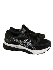 Asics Gel-Nimbus 21 Womens Running Shoes  Black White 1012A156 Size 8.5 EUC