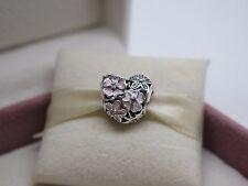 New w/Box & Tag Pandora Poetic Blooms w/ Enamel Flowers Heart Charm #791825ENMX