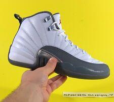 Air Jordan 12 Retro (GS) 'White Dark Grey' Shoes Size 5Y/Women 6.5 [153265-160]