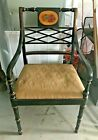 Local Pickup Vintage Sheraton Style Black Hand Painted Floral Wood Arm Chair