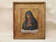 RELIGIOUS WOODEN PORTRAIT OUR LADY VIRGIN MARY HANDPAINTED RENAISSANCE STYLE