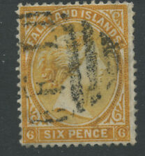 Falkland Islands 1891 SG33 6d orange-yellow Wmk Crown CA (Upright) P14/14.5 Used