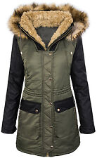 Ladies winter jacket cozy lining lined parka faux leather sleeves D-257 NEW