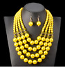 Nigerian African Wedding Bridal Jewelry Simulated Pearl Beads Necklace Eaarings