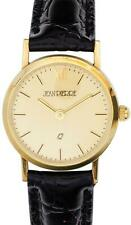 Ladies 9ct Gold Wristwatch Champagne Face - Black Leather Strap - Gift Box