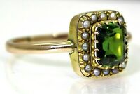 Georgian Verdelite Tourmaline Pearl Cluster 15ct Rose Yellow Gold Ring T 1/2 ~10