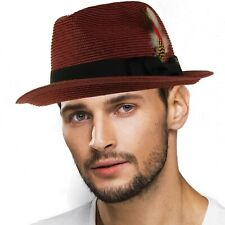 Men's Handsome Feather Derby Fedora Tall Crown Upturn Curl Brim Hat