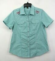 Bit Bridle Womens Sea Green Plaid Embroidered Pearl Snap Short Sleeve Shirt M