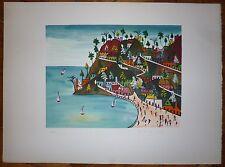 Préfète Duffaut Lithographie signée art naïf haïtien Port au princes imaginaire