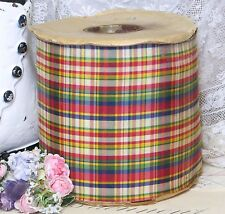 """1y Vtg 4.5"""" Red Blue Green Plaid Tartan Taffeta Ribbon French Hat Cocarde Flwr"""