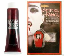 Set De 2 Vampiro Drácula sangre Falsa Y Colmillos Gorras Dientes De Disfraces De Halloween