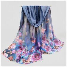 destockage foulard écharpe neuf mousseline de soie gris fleurs plumes