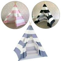 Kids Play  Stripes Cotton Tent Children Canvas Indian Wigwam Playhouse Indoor UK