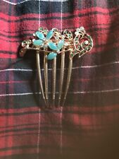 Hair Comb with Aqua and Clear Stones