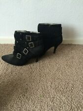 black velvet boots with heals and buckle size 39 EU