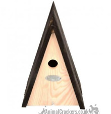 Natural wood Triangle Bird house nest box Blue Tit & other small garden birds