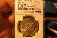 1928 A GERMANY OAK TREE 5 MARKS SILVER NGC UNC DETAILS .... FREE SHIPPING