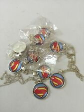 Lot of 9 Superman Necklaces with Silver Chains
