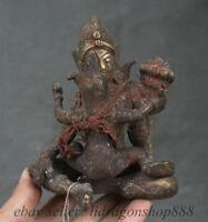 15cm Vieux Tibet Tibétain Bronze Bouddhisme Mandkesvara Yab-yum Bouddha Statue