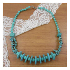 "19"" Turquoise NaturalStone Necklace Beaded Healing Festival NewAge Boho Yoga 170"