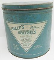 "Vintage Billy'S Bretzels Pretzels 9"" Tin  Blue & Silver Canister Reading, Pa"