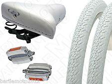 Sella Montegrappa + Pedali + N°2 Copertone 26 x 1.3/8 Bici Olanda - Epoca BIANCO