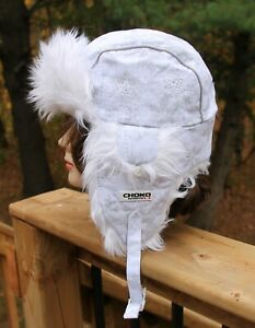 Choko Authentics Trapper Mopar White Fur Hat With Pink Inside Adult One Size