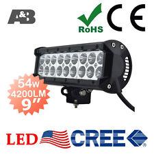 "A&B 9"" 54W CREE LED Light Bar Work Lamp Bright 4200LM 12V 24V Flood Beam"