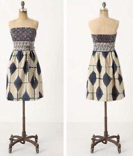 Anthropologie Maeve Magellan Strapless Dress Blue Beige Geometric Pockets Size 4