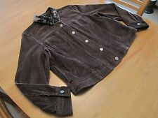 J. Jill L Brown Wide Wale Cotton Corduroy Jacket Crushed Velvet Collar EUC #988