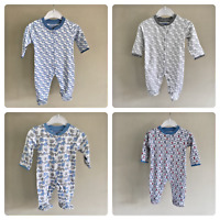 Ex Jojo Maman Bebe Baby Boys Elephant Sleepsuits Babygrow Age N/B 0 3 6 9 Month