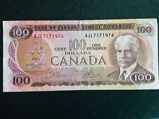 CANADA 100 DOLLAR NOTE 1975, circulated. crisp. good condition