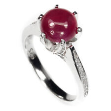 Round Red Ruby 8mm Cz 14k White Gold Plate 925 Sterling Silver Ring