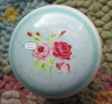 Shabby French Paris Roses White Ceramic Porcelain Cabinet Drawer Knob Decal 2C