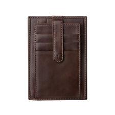 ANTICA TOSCANA Porta carte di credito uomo sottile in Pelle Castagna a bottone