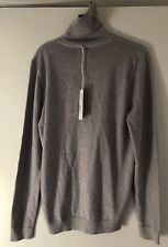A Day's March Merino Wool Roll Neck Sweater Light Grey Mel Size Small
