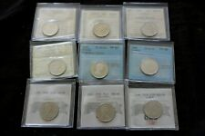Canada 25 Cents 1968 1978 1985 1988 2001P 2004P 2007 , CERTIFIED