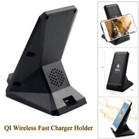 2 Coils QI Wireless Fast Charger 10W with USB & Cooling Fan Phone Stand Dock Pad