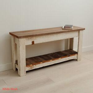 Bench 36'' Solid Reclaimed Wood Rustic Farmhouse Bench Hallway Seating w Shelf