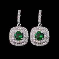 Fashion Cubic Zircon Crystal Square Drop Earrings for Women Party Wedding