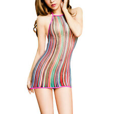 Women Sexy lingerie Rainbow Fishnet Babydoll Halter Stretch Chemise Dress HOT AU