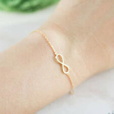 Fashion Cute Small 8 Word Infinity Charm Chain Bridesmaid Bracelet Great Gift 3c Gold